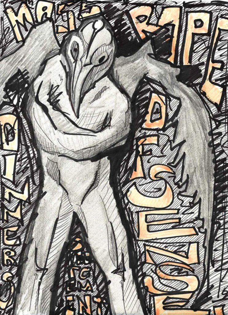 Cement - Mixed Media auf Papier - Original Zeichnung