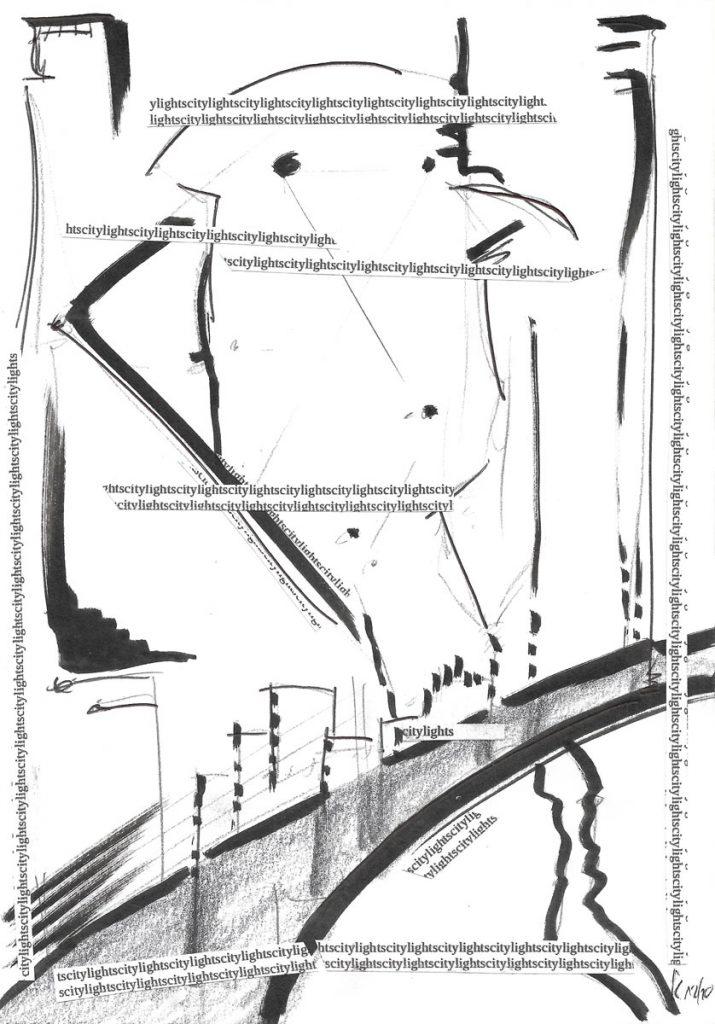Citylights Artwork - Original Kunstwerk - Mixed Media auf Papier