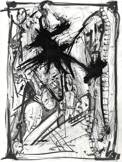 Faces - Original Tusche Zeichnung